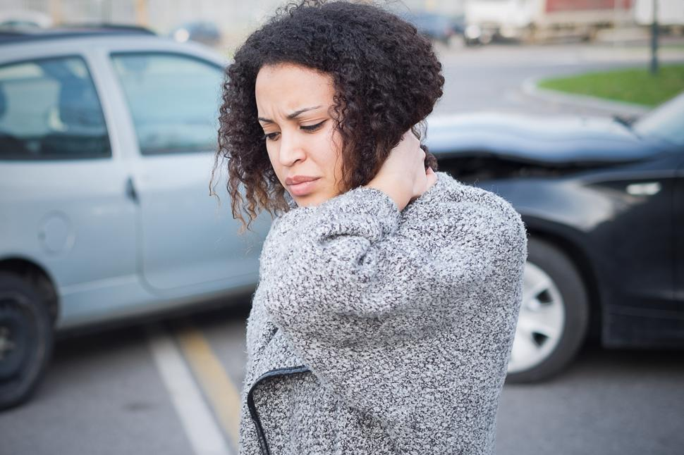 A woman with a neck injury suffered in a car accident.