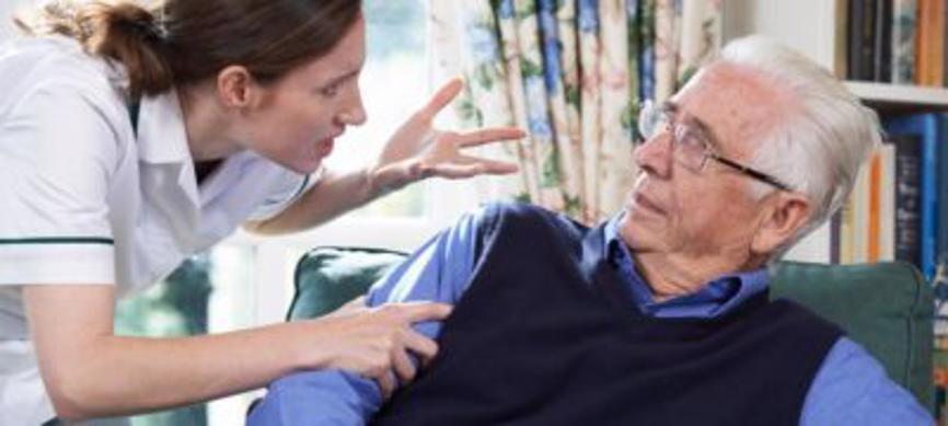 Nurse verbally abuses elderly in a case of nursing home neglect.