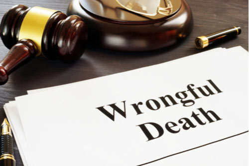 Wrongful Death report and gavel in a court